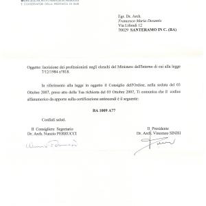 Abilitazione iscrizione elenchi Ministero dell'Interno - Legge 818-84
