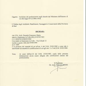 Iscrizione professionisti elenco Ministero dell'Interno - Legge 818-84